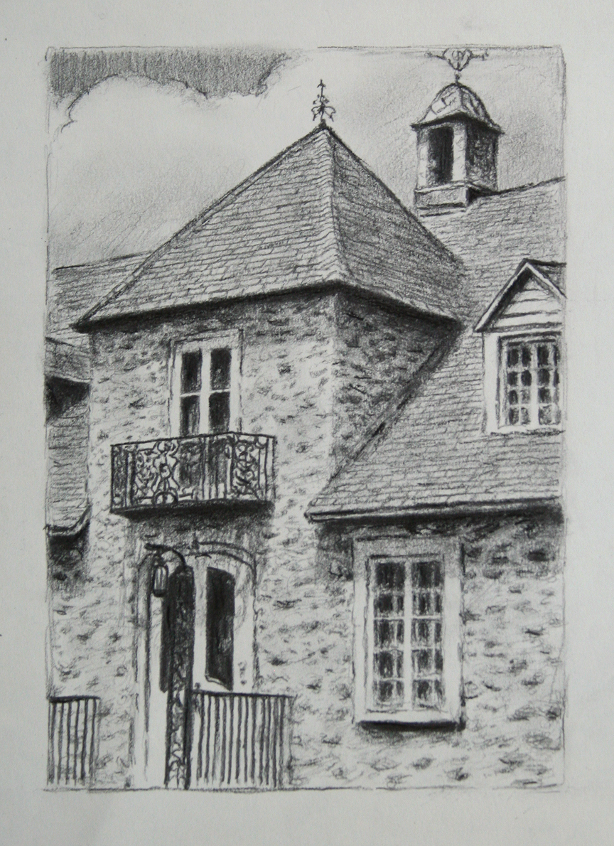 "Tour du manoir, 2018, Crayons on paper, 8'' x 5½''<span class=""sold"">sold</span>"